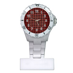 Woven1 Black Marble & Red Brushed Metal (r) Plastic Nurses Watch by trendistuff
