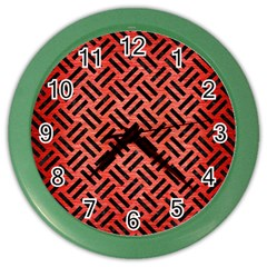 Woven2 Black Marble & Red Brushed Metal Color Wall Clocks by trendistuff