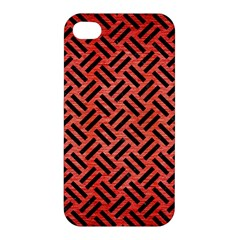 Woven2 Black Marble & Red Brushed Metal Apple Iphone 4/4s Hardshell Case by trendistuff
