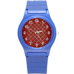 Woven2 Black Marble & Red Brushed Metal Round Plastic Sport Watch (s) by trendistuff