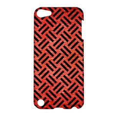 Woven2 Black Marble & Red Brushed Metal Apple Ipod Touch 5 Hardshell Case by trendistuff