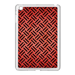Woven2 Black Marble & Red Brushed Metal Apple Ipad Mini Case (white) by trendistuff