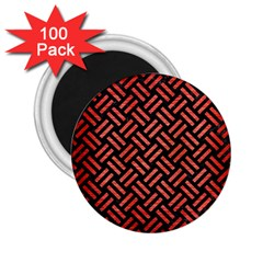 Woven2 Black Marble & Red Brushed Metal (r) 2 25  Magnets (100 Pack)  by trendistuff