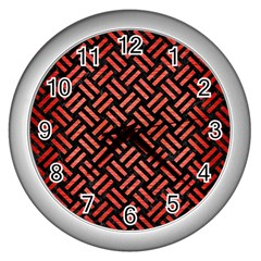 Woven2 Black Marble & Red Brushed Metal (r) Wall Clocks (silver)  by trendistuff