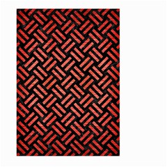 Woven2 Black Marble & Red Brushed Metal (r) Large Garden Flag (two Sides) by trendistuff