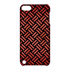 Woven2 Black Marble & Red Brushed Metal (r) Apple Ipod Touch 5 Hardshell Case With Stand by trendistuff