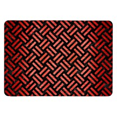 Woven2 Black Marble & Red Brushed Metal (r) Samsung Galaxy Tab 8 9  P7300 Flip Case by trendistuff