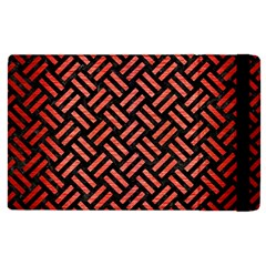 Woven2 Black Marble & Red Brushed Metal (r) Apple Ipad Pro 12 9   Flip Case