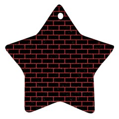 Brick1 Black Marble & Red Colored Pencil (r) Star Ornament (two Sides)