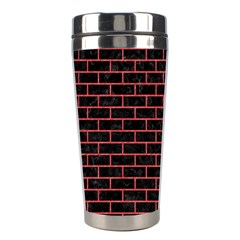 Brick1 Black Marble & Red Colored Pencil (r) Stainless Steel Travel Tumblers by trendistuff