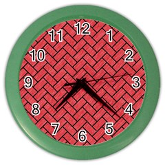 Brick2 Black Marble & Red Colored Pencil Color Wall Clocks by trendistuff