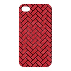 Brick2 Black Marble & Red Colored Pencil Apple Iphone 4/4s Hardshell Case by trendistuff
