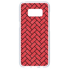 Brick2 Black Marble & Red Colored Pencil Samsung Galaxy S8 White Seamless Case by trendistuff