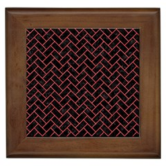 Brick2 Black Marble & Red Colored Pencil (r) Framed Tiles