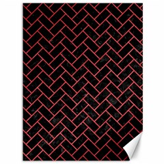 Brick2 Black Marble & Red Colored Pencil (r) Canvas 36  X 48   by trendistuff