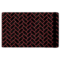 Brick2 Black Marble & Red Colored Pencil (r) Apple Ipad 3/4 Flip Case