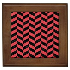 Chevron1 Black Marble & Red Colored Pencil Framed Tiles