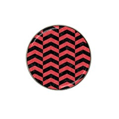 Chevron2 Black Marble & Red Colored Pencil Hat Clip Ball Marker (10 Pack) by trendistuff