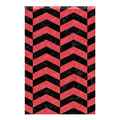 Chevron2 Black Marble & Red Colored Pencil Shower Curtain 48  X 72  (small)  by trendistuff
