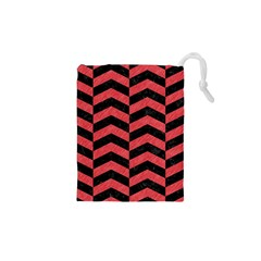 Chevron2 Black Marble & Red Colored Pencil Drawstring Pouches (xs)