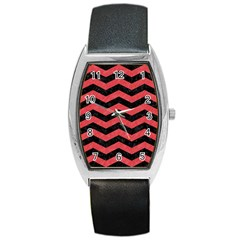Chevron3 Black Marble & Red Colored Pencil Barrel Style Metal Watch by trendistuff