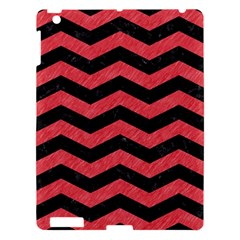 Chevron3 Black Marble & Red Colored Pencil Apple Ipad 3/4 Hardshell Case by trendistuff