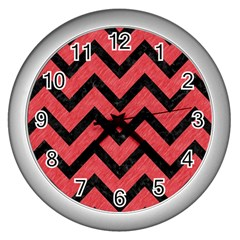Chevron9 Black Marble & Red Colored Pencil Wall Clocks (silver)  by trendistuff