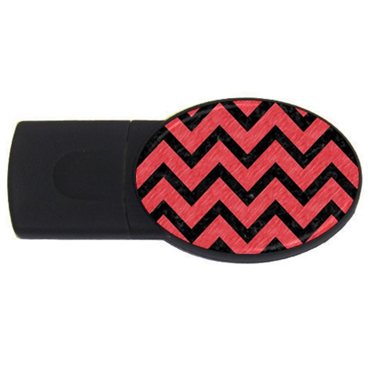 CHEVRON9 BLACK MARBLE & RED COLORED PENCIL USB Flash Drive Oval (4 GB)