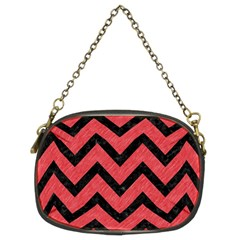 Chevron9 Black Marble & Red Colored Pencil Chain Purses (two Sides)  by trendistuff