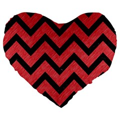 Chevron9 Black Marble & Red Colored Pencil Large 19  Premium Flano Heart Shape Cushions by trendistuff