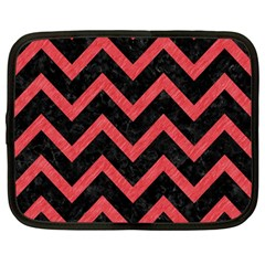 Chevron9 Black Marble & Red Colored Pencil (r) Netbook Case (large) by trendistuff