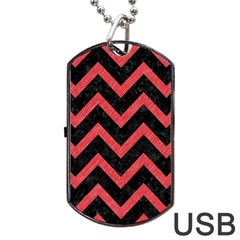 Chevron9 Black Marble & Red Colored Pencil (r) Dog Tag Usb Flash (two Sides) by trendistuff