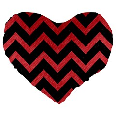 Chevron9 Black Marble & Red Colored Pencil (r) Large 19  Premium Flano Heart Shape Cushions by trendistuff