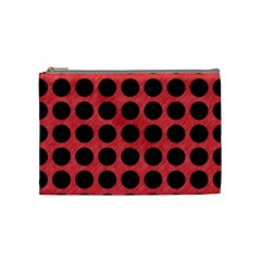 Circles1 Black Marble & Red Colored Pencil Cosmetic Bag (medium)  by trendistuff