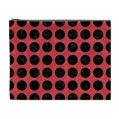 Circles1 Black Marble & Red Colored Pencil Cosmetic Bag (xl) by trendistuff