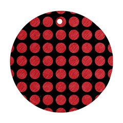 Circles1 Black Marble & Red Colored Pencil (r) Round Ornament (two Sides) by trendistuff