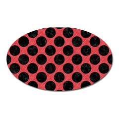 Circles2 Black Marble & Red Colored Pencil Oval Magnet by trendistuff