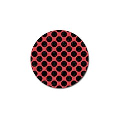 Circles2 Black Marble & Red Colored Pencil Golf Ball Marker (10 Pack) by trendistuff