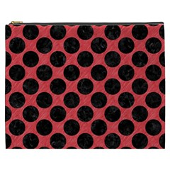 Circles2 Black Marble & Red Colored Pencil Cosmetic Bag (xxxl)  by trendistuff