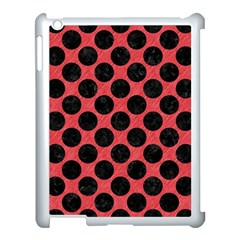 Circles2 Black Marble & Red Colored Pencil Apple Ipad 3/4 Case (white) by trendistuff