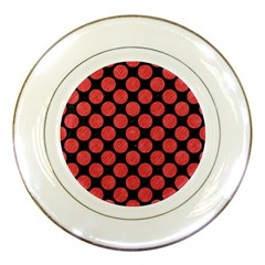 Circles2 Black Marble & Red Colored Pencil (r) Porcelain Plates by trendistuff