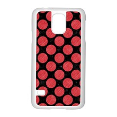 Circles2 Black Marble & Red Colored Pencil (r) Samsung Galaxy S5 Case (white) by trendistuff