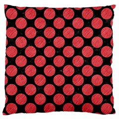 Circles2 Black Marble & Red Colored Pencil (r) Large Flano Cushion Case (two Sides) by trendistuff