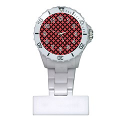 Circles3 Black Marble & Red Colored Pencil Plastic Nurses Watch by trendistuff