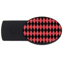Diamond1 Black Marble & Red Colored Pencil Usb Flash Drive Oval (2 Gb) by trendistuff