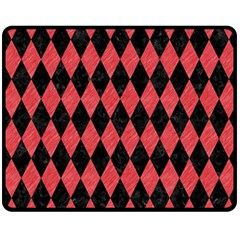 Diamond1 Black Marble & Red Colored Pencil Double Sided Fleece Blanket (medium)  by trendistuff