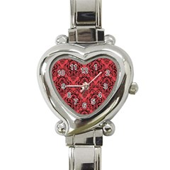 Damask1 Black Marble & Red Colored Pencil Heart Italian Charm Watch by trendistuff