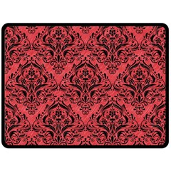 Damask1 Black Marble & Red Colored Pencil Fleece Blanket (large)