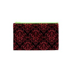Damask1 Black Marble & Red Colored Pencil (r) Cosmetic Bag (xs) by trendistuff