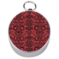 Damask2 Black Marble & Red Colored Pencil Silver Compasses by trendistuff